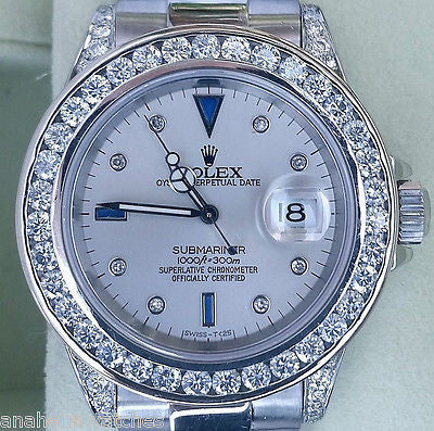 ROLEX SUBMARINER 16610 STEEL DIAMOND BAND DIAMOND BEZEL DIAMOND LUGS 9 CARATS