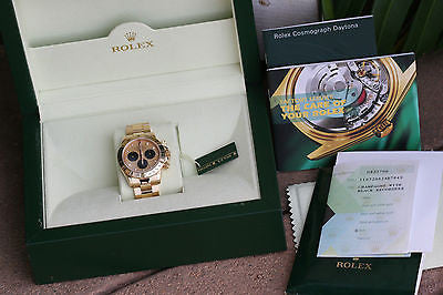 ROLEX MENS WATCH 18K YELLOW GOLD DAYTONA GOLD DIAL 116528 BOX PAPERS