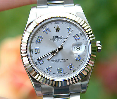 ROLEX MENS 41mm DATEJUST II 18K WHITE GOLD STEEL 116334 BLUE SILVER UNWORN