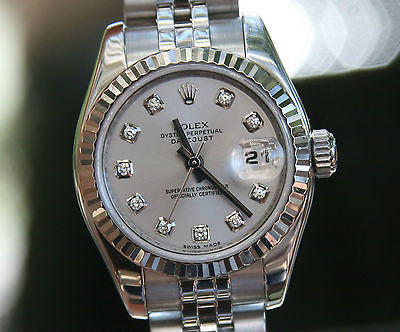 ROLEX LADIES 179174 DATEJUST 26mm 18k WHITE GOLD STEEL SILVER DIAMOND DIAL