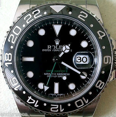 ROLEX GMT II STAINLESS STEEL BLACK ON BLACK CERAMIC BEZEL PERFECT MINT 116710
