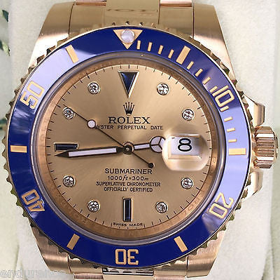 ROLEX SUBMARINER 18K GOLD BLUE BEZEL GOLD SERTI DIAL BLUE SAPPHIRES 116618
