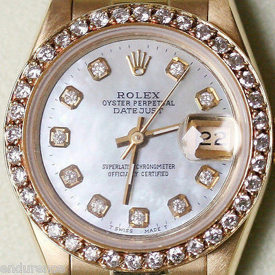 ROLEX PRESIDENT LADIES 26mm 18K YELLOW GOLD 69178 DIAMOND PEARL DIAL BEZEL