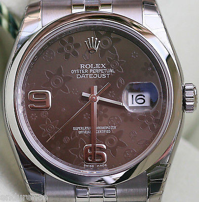 ROLEX DATEJUST 36mm BROWN FLORAL DIAL MODEL 116200 STAINLESS STEEL MENS LADIES