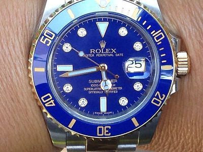 ROLEX SUBMARINER 116613 CERAMIC BEZEL DIAMOND DIAL 18k Gold Stainless Steel