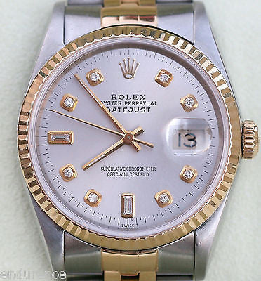 ROLEX DATEJUST TWO TONE 18K GOLD STAINLESS STEEL WATCH SILVER DIAMOND DIAL 16233