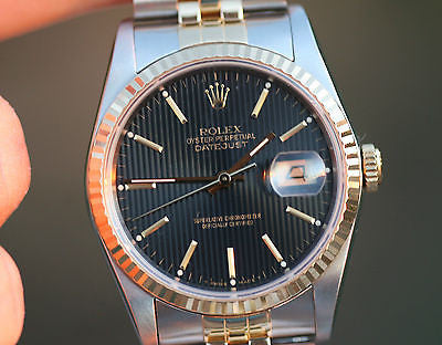 ROLEX DATEJUST MENS 18K YELLOW GOLD STAINLESS STEEL MODEL 16233