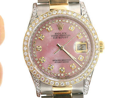ROLEX MENS 16233 DATEJUST 18K GOLD STAINLESS STEEL DIAMOND PINK MOTHER OF PEARL