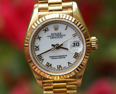 ROLEX PRESIDENT LADIES 26mm 18K YELLOW GOLD 69178 WHITE ROMAN DIAL USED