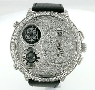Curtis & Co. Mens Big Time World Watch Diamonds 57mm Diamond Bezel Dial Lugs