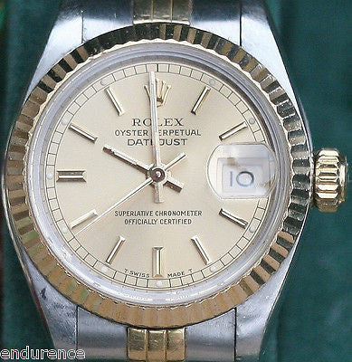 ROLEX LADIES DATEJUST QUICKSET TWO TONE GOLD STEEL 26mm MODEL 69173