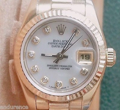 ROLEX PRESIDENT LADIES 18K GOLD MOTHER OF PEARL WHITE DIAMOND DIAL MODEL 179178