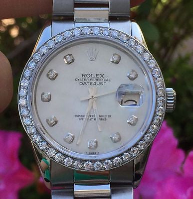 ROLEX 16014 MENS LADIES 36mm STAINLESS STEEL DATEJUST DIAMOND DIAL BEZEL PERFECT