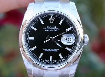 ROLEX WATCH MENS DATEJUST 116200 36mm STAINLESS STEEL BOX & PAPERS NEW