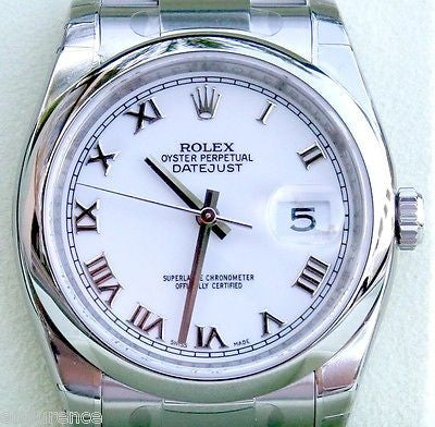 ROLEX DATEJUST MENS LADIES 36MM 116200 STAINLESS STEEL BOX & PAPERS NEW