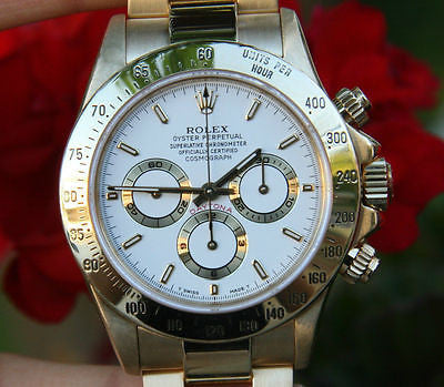 ROLEX MENS WATCH 18K YELLOW GOLD DAYTONA 16528 WHITE DIAL PERFECT