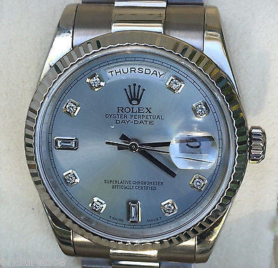 ROLEX MENS PRESIDENT 18K WHITE GOLD LIGHT BLUE DIAMOND DIAL MODEL 118239