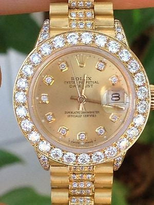ROLEX LADIES PRESIDENT DIAMOND DIAL Oversized BEZEL LUGS BAND 6917