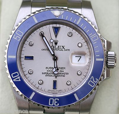 ROLEX SUBMARINER MENS STAINLESS SILVER DIAL DIAMONDS SAPPHIRES 116610 BRAND NEW