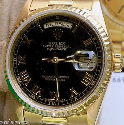 ROLEX PRESIDENT MENS LADIES 18238 36MM 18K GOLD BLACK ROMAN DIAL BOX PAPERS
