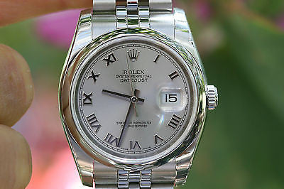 ROLEX MENS LADIES 36mm DATEJUST WATCH STAINLESS STEEL 116200 UNWORN ROMAN SILVER