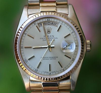 ROLEX MENS PRESIDENT 36mm 18K Yellow Gold 18038