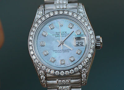 ROLEX WATCH LADIES DATEJUST 18K WHITE GOLD DIAMOND BAND BEZEL DIAL LUGS 179160