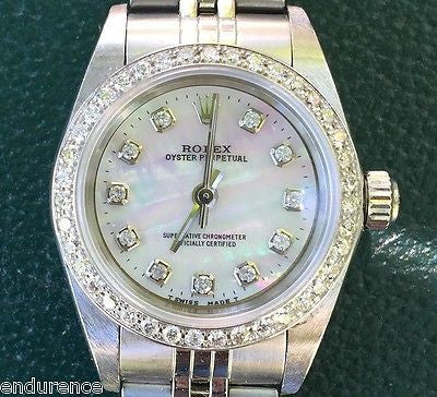 ROLEX LADIES OYSTER PERPETUAL NO DATE 76080 STAINLESS STEEL CUSTOM DIAMOND BEZEL