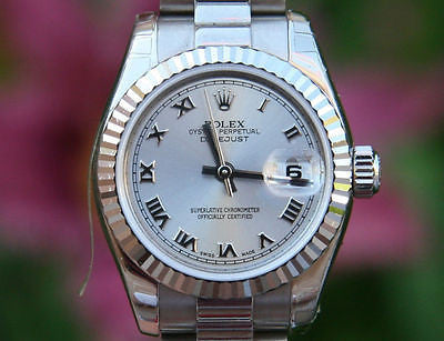 ROLEX LADIES PRESIDENT 26mm 18K WHITE GOLD ROMAN 179179 LIKE BRAND NEW