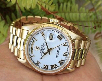 ROLEX PRESIDENT MENS LADIES 18238 36MM 18K YELLOW GOLD WHITE BIG BOLD ROMAN DIAL