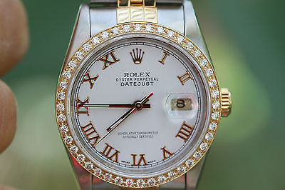 ROLEX MENS DATEJUST 2TONE 18K YELLOW GOLD STEEL WHITE ROMAN 16233 DIAMOND BEZEL