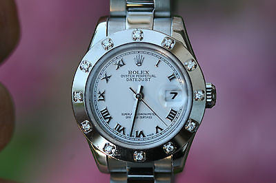 ROLEX LADIES STAINLESS STEEL DATEJUST 179174 12 DIAMOND BEZEL 26mm
