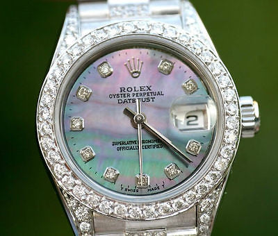 ROLEX LADIES 26mm DATEJUST 18K WHITE GOLD DIAMOND BAND BEZEL LUGS MOP DIAL