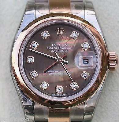 ROLEX LADIES DATEJUST TWO TONE TAHITIAN BLACK MOTHER-OF-PEARL DIAMOND DIAL