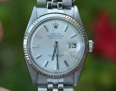 ROLEX MENS VINTAGE DATEJUST 1601 STEEL 18K WHITE GOLD BEZEL JUBILEE RIVET Band