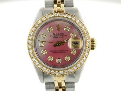 ROLEX WATCH LADIES DATEJUST 2TONE DIAMOND DIAL PINK MOP
