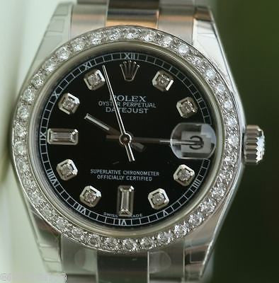 ROLEX DATEJUST MIDSIZE MENS LADIES 178240 DIAMONDS UNWORN BLACK DIAL BRAND NEW