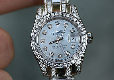 ROLEX 26mm STEEL 179160 DATEJUST DIAMOND BAND 4 18k WHITE GOLD 80299 UNWORN