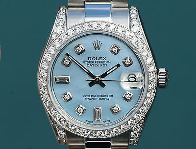 ROLEX WATCH DATEJUST MIDSIZE LADIES 178240 BLUE MOP DIAMOND DIAL BEZEL LUGS