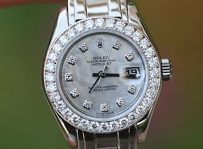 ROLEX MASTERPIECE 18K WHITE GOLD 80299 PRESIDENT 80319 29mm DIAMOND DIAL BEZEL