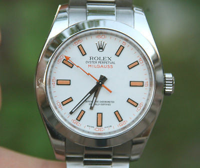 ROLEX MENS MILGAUSS STEEL 116400 40mm WHITE ORANGE DIAL OYSTER BAND PERFECT!