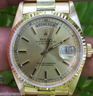 ROLEX PRESIDENT MENS 18K YELLOW GOLD CHAMPAGNE DIAL MODEL 18238 BOX PAPERS