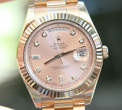 ROLEX MENS PRESIDENT DAY-DATE II 18k ROSE GOLD 41mm PINK DIAL FACTORY DIAMOND