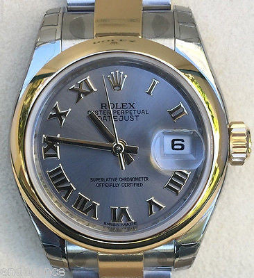 ROLEX LADIES DATEJUST TWO TONE SMOOTH BEZEL OYSTER BRACELET ROMANS MODEL 179163