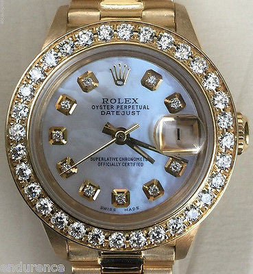 ROLEX LADIES PRESIDENT 18K GOLD 26 mm MOTHER OF PEARL DIAMOND DIAL BEZEL 69178