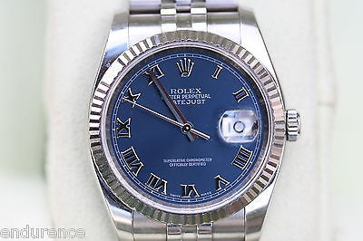 NEW ROLEX DATEJUST MENS 116234 36 mm WATCH STAINLESS STEEL BLUE DIAL ROMANS