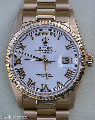 ROLEX PRESIDENT MENS 18K GOLD MODEL 18038 WHITE DIAL GOLD ROMAN NUMERALS