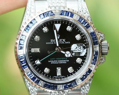 ROLEX GMT MASTER II 116710 5cts. DIAMOND LUGS BEZEL 4 18k WHITE GOLD 116759 NEW