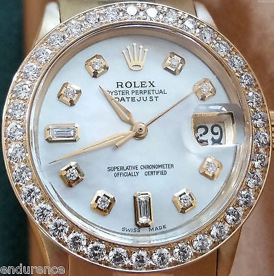 ROLEX DATEJUST GOLD MOTHER OF PEARL DIAMONDS DIAL & BEZEL MIDSIZE PRESIDENT 6624