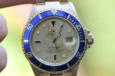 ROLEX SUBMARINER 18K YELLOW GOLD 40mm 16618 DIAMOND SAPPHIRE BEZEL ENGRAVED
